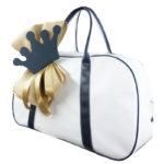 Τσάντα 11711 Κορώνα Λευκό-Μπλέ Σκούρο Zaxos